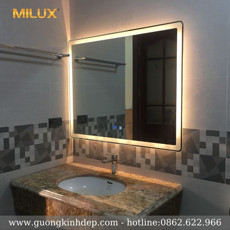 Gương Phòng Tắm 70x90cm Led Vàng Cao Cấp