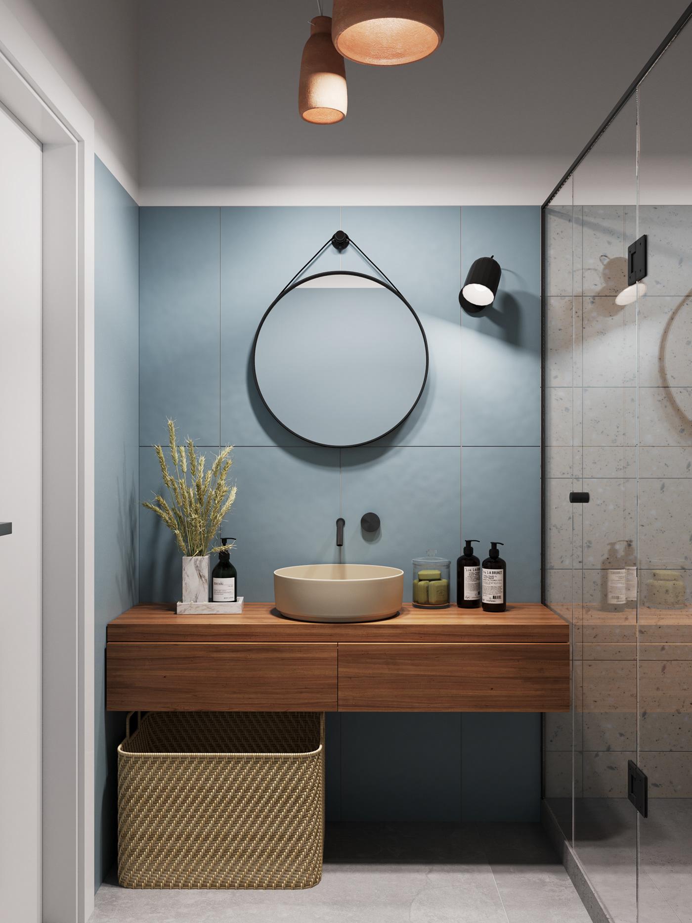 Bố trí gương dây da cho phòng tắm kích thước khiêm tốn